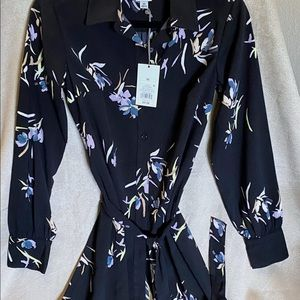 A New Day long sleeve black floral button up dress